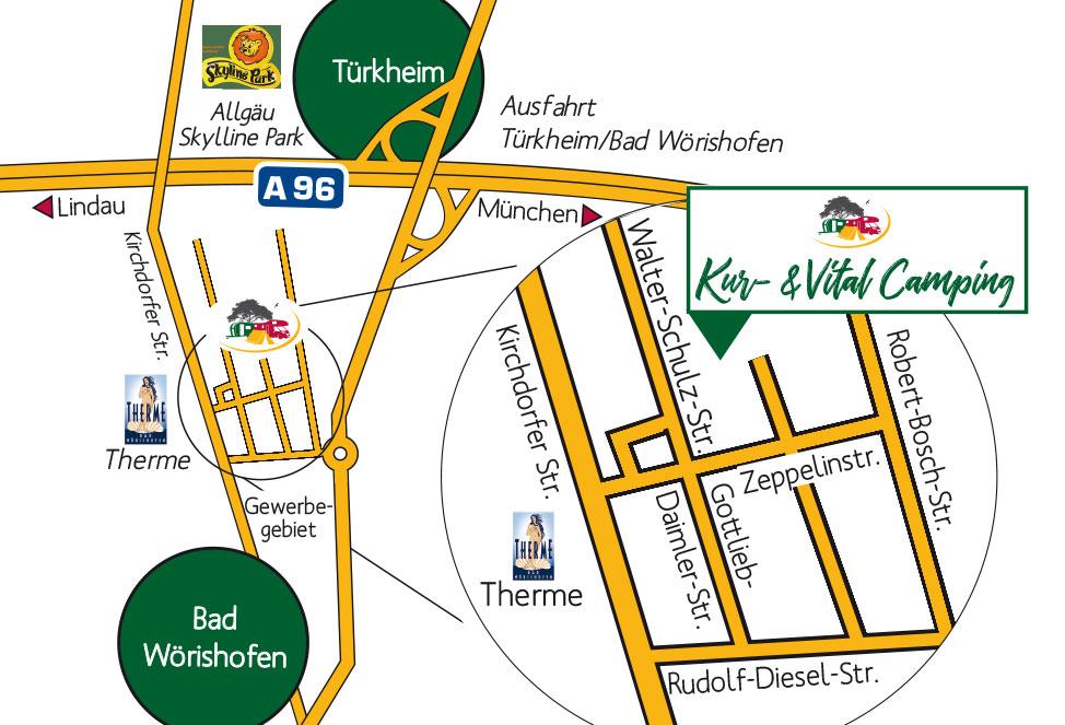 Anfahrtskarte Kur- und Vitalcampingplatz in Bad Wörishofen im Allgäu
